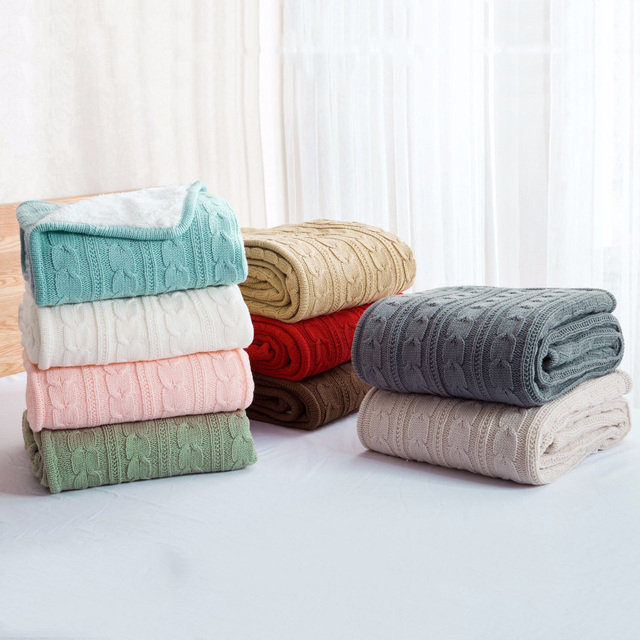CHAUSUB Quality Double Knitted Blankets Winter Hotels Home Sofa Wool  Blanket Acrylic Cashmere Leisure Blanket 9