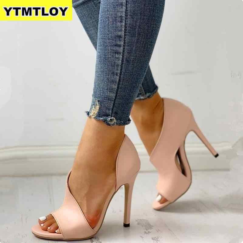 HOT Hollow ผู้หญิงปั๊มงูใหม่รองเท้าเซ็กซี่รองเท้าส้นสูงสุภาพสตรี Stiletto & Enlargers หญิงพิมพ์ Zapatos หรูหรา