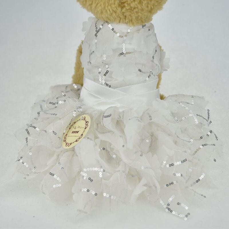 bling blanco encaje perro cachorro de lujo vestido gato mascota tutú