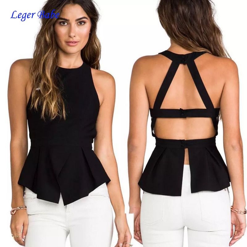 Summer Sexy Backless Bandage Tank Tops Hollow Out Girl Sleeveless Vest Women Shirt Celebrity Party Club Slim Top Black White Red
