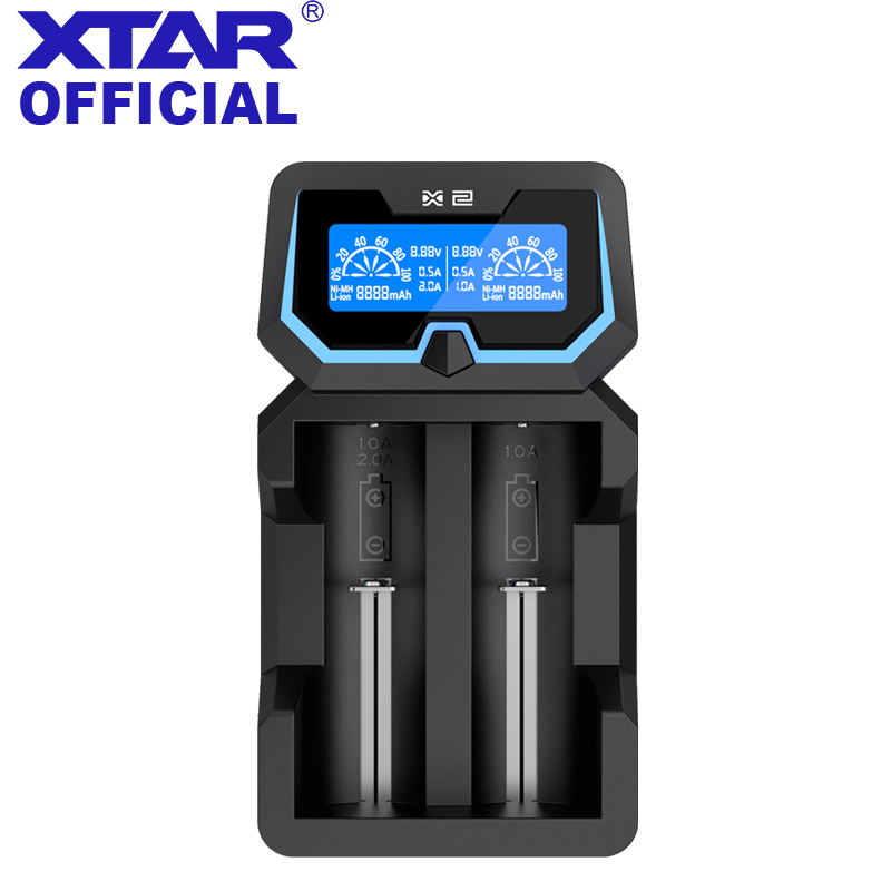 XTAR Charger X2 Fast-Charging LCD Li-ion/ Ni-MH 3.7V Battery Charger For 18500/18700/22650/ 26650/18650/20700/21700 Battery