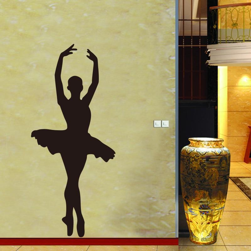 Ballet Dancer Silhouette Removable Vinyl Wall Art Decor Girls Room ...