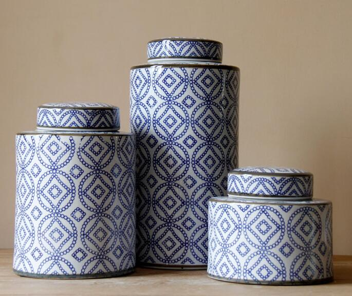 Three pieces set classical Chinese home decor blue and white Porcelain Ceramic Vase Temple Jar Ginger Jars