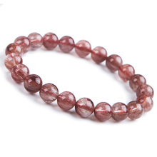 Newly Natural Red Hair Rutilated Quartz Round Beads 9mm Crystal Bracelet Women Men Clear Stone AAAAA Gift Jewelry