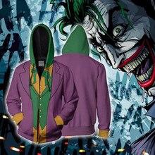 The Dark Knight Cosplay Comic Clown Joker Anime Hoodie Costume Sweatshirt Jacket Coats Men and Women
