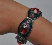China's Tibet dynasty palace cloisonne bracelet silver inlaid gems