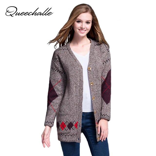 54264405b8bd4 Queechalle Women Cardigan Autumn Winter Casual Knitted Oversized Sweater  Coats XXXL 4XL 5XL Plus Size Feminino