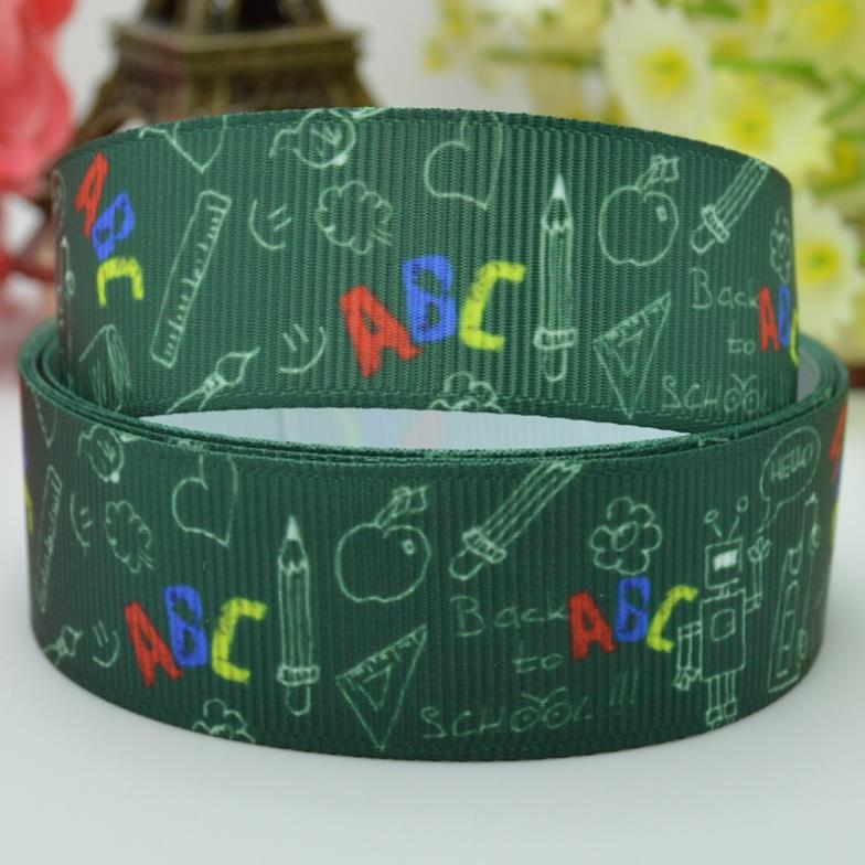New fashion School ABC 22mm hot sale party decorations craft material personalized printed grosgrain ribbons 50 yard 7/8 roll