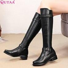 QUTAA/ г. Женские сапоги до колена зимние ботинки на молнии на платформе женская обувь элегантные женские сапоги из искусственной кожи с коротким плюшем размеры 34-43