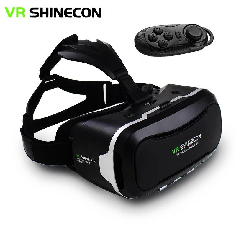 """<font><b>VR</b></font> <font><b>Shinecon</b></font> II 2.0 Helmet <font><b>Virtual</b></font> <font><b>Reality</b></font> <font><b>Glasses</b></font> Mobile Phone 3D <font><b>Video</b></font> Movie <font><b>Games</b></font> for 4.7-6.0"""" phone + Remote Controller"""