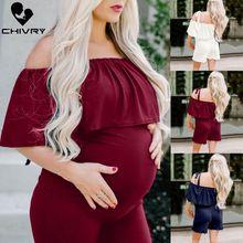 Summer 2019 Women Maternity Rompers Fashion Ruffles Slash Neck Pregnancy Jumpsuit Solid Pregnant Romper Playsuit