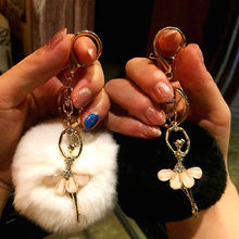 Rabbit Fur Ball Key Chain Keyrings Pendant Bowknot Crystal Angel Gift Car Handbag Cellphone Keychain Accessory Decoration 7C0465