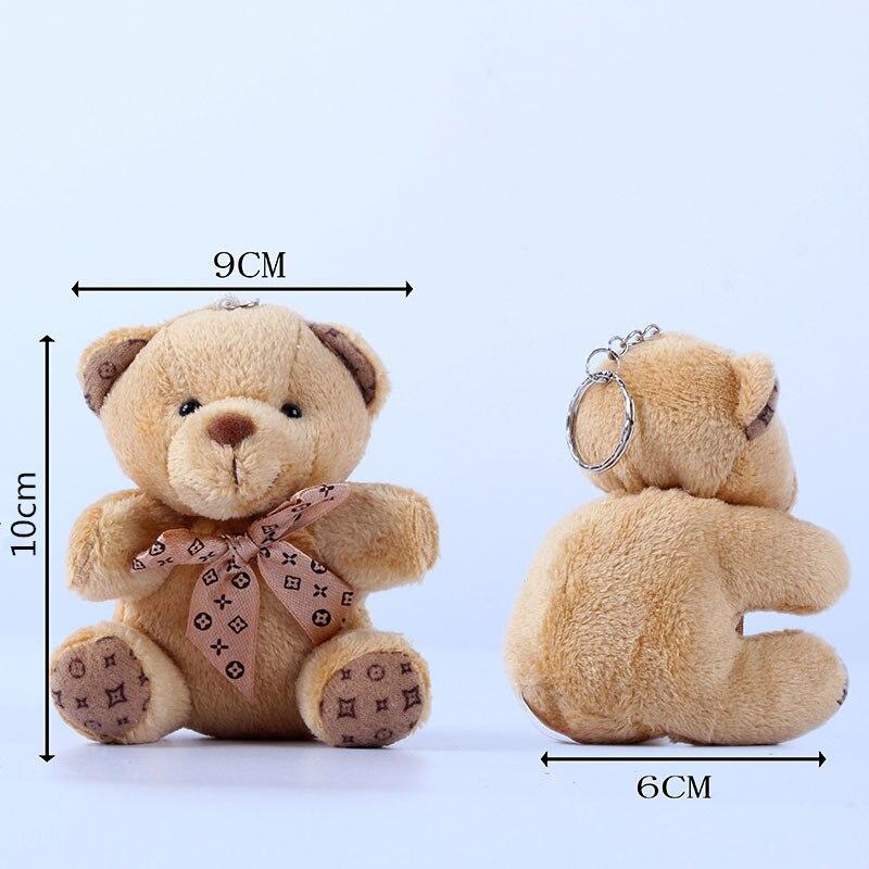 10cm Teddy Plush Doll Keychain Cute Pompom Small Bow Tie Bear Toy Pendant Keyring Women Bag Car Key Chain Trinket Valentine Gift
