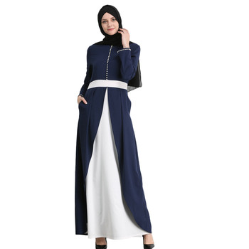 Beautiful Muslim Womens Abaya Dress Dubai Patchwork O-Neck Polyester abaya