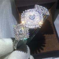 Dazzling Sunflower Bangle 5A cubic zirconia White Gold Filled Engagement Wedding Bangles Bracelets for women Bridal Jewelry B5