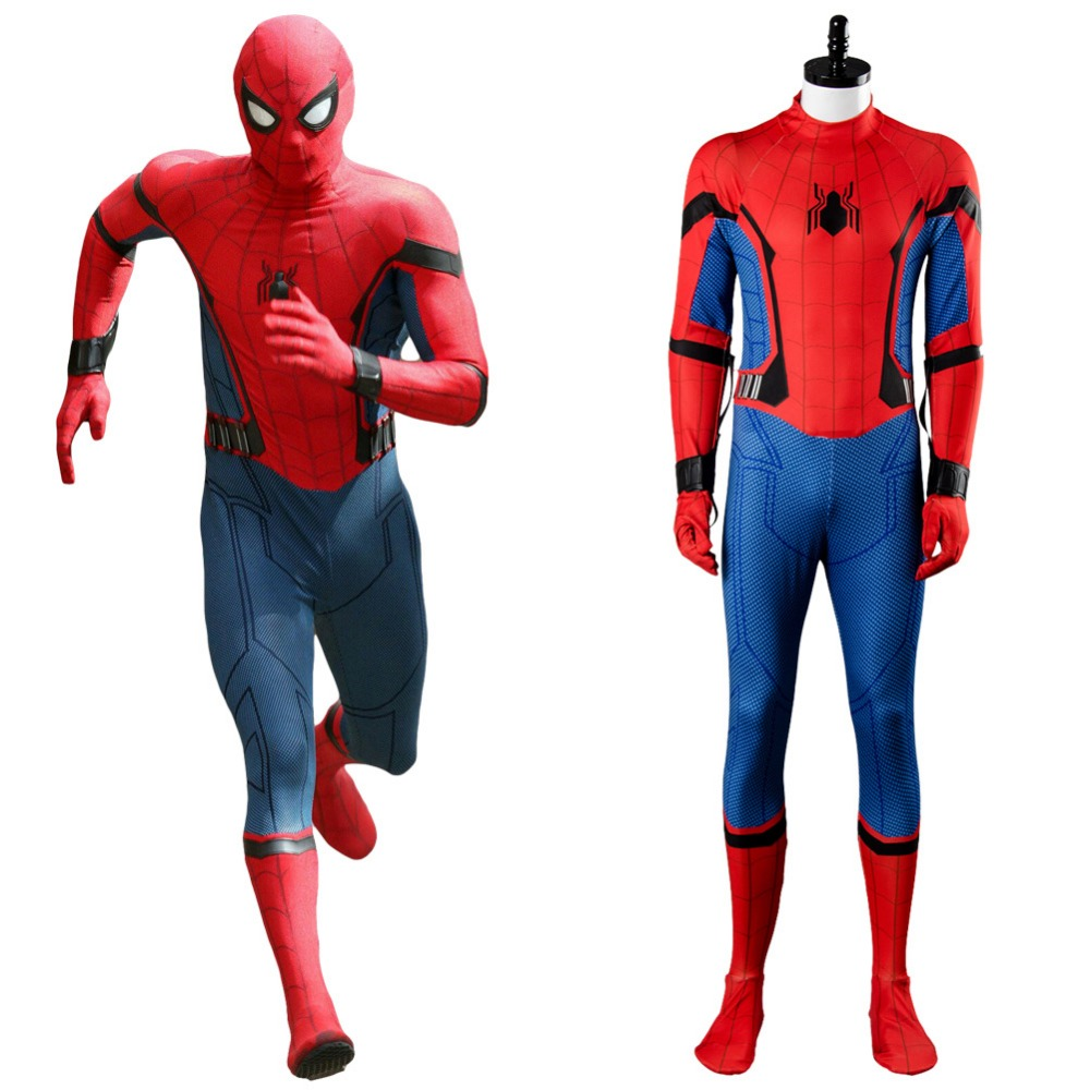 2017 Movie Cosplay Costume Spiderman Homecoming Spiderman Civil War Cosplay Costume Jumpsuit Suit Halloween Carnival