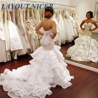 Fashion Layered Organza Mermaid Wedding Dress 2018 Buttons Lace Appliques Sweetheart Bridal Gowns Dreaming vestidos de noiva