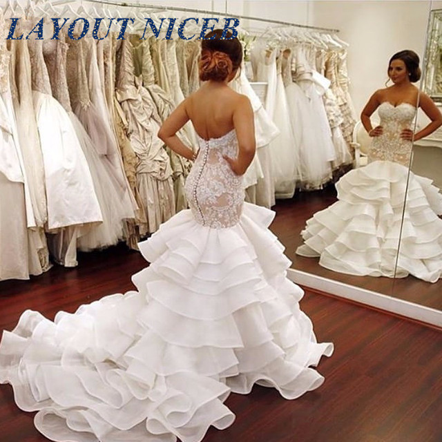 Fashion Layered Organza Mermaid Wedding Dress 2018 Buttons Lace ...