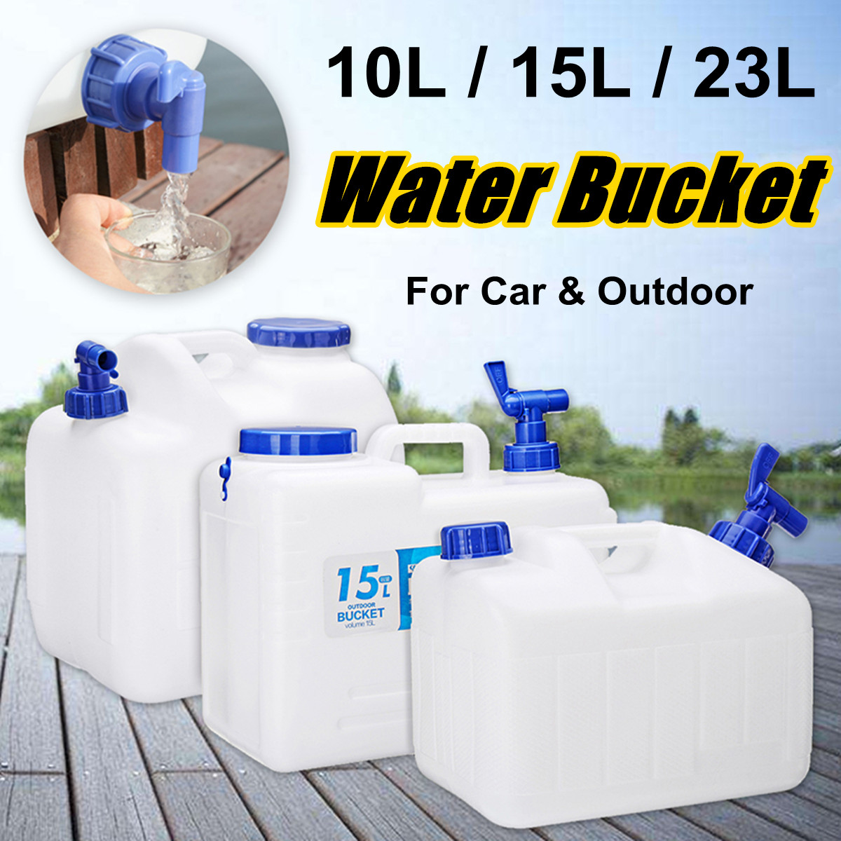 Portable Outdoor Camping Car Water Carrier Bucket Canister Storage Container Hiking Travel With Handle Water Tap 10/15/23L