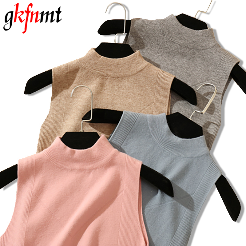 2020 New Half High Collar Tank Tops Female Summer Fashion Solid Women Hight Quality Blue Gray Black White Knitted Tops SexyTank Tops   -