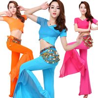 New Belly Dance Costume Sexy Gauze Sleeves Top Gauze Pants 2pcs Women Belly Dance Costume Exercie