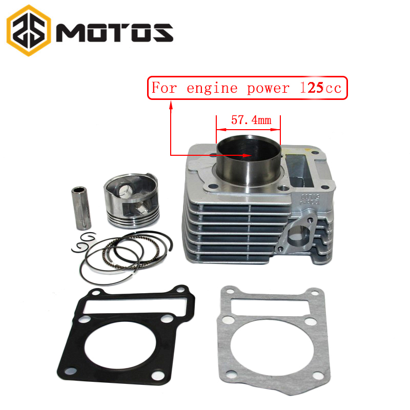 ZS MOTOS 57.4mm Big Bore Cylinder Piston Ring Gasket Kit For Yamaha YBR125 Motorcycle Cylinder Kit Dirt Pit bike Racing motorcycle cylinder kit for mbk av10 booster big bore 39mm cylinder kit with piston 13mm pin