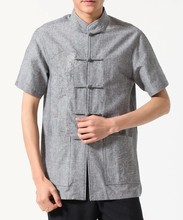 Hot Sale Traditional Chinese Men's Linen Embroidery Kung Fu Shirt Top Short-sleeve Tang Suit Size S M L XL XXL XXXL
