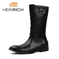 HEINRICH Mid Calf High Boots Mens Military Leather Men Motocycle Boots Cowboy Riding Boots Men's Shoes Chaussures Hommes En Cuir