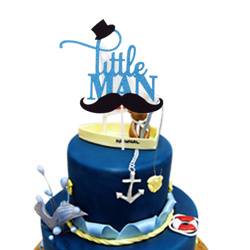 Little Man Cake Toppers Happy Birthday Gentleman Hat Mustche Baby Shower Cake Flag Birthday Party Cake Decor Oh Boy