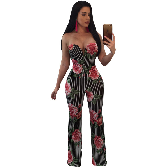 d7f1b2f2a0fc Floral Printed Wide Leg Jumpsuit Rompers Women Off the Shoulder Dressy  Loose Long Pants Strapless Jumpsuits Ladies Overalls