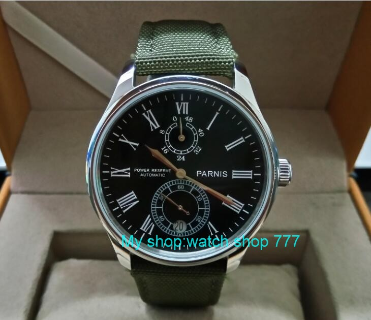 PARNIS 43mm black dial Automatic Self-Wind movement power reserve men's watch Mechanical watches wholesale GL217a 43mm parnis black dial automatic self wind mechanical movement power reserve mechanical watches men s watch x00066