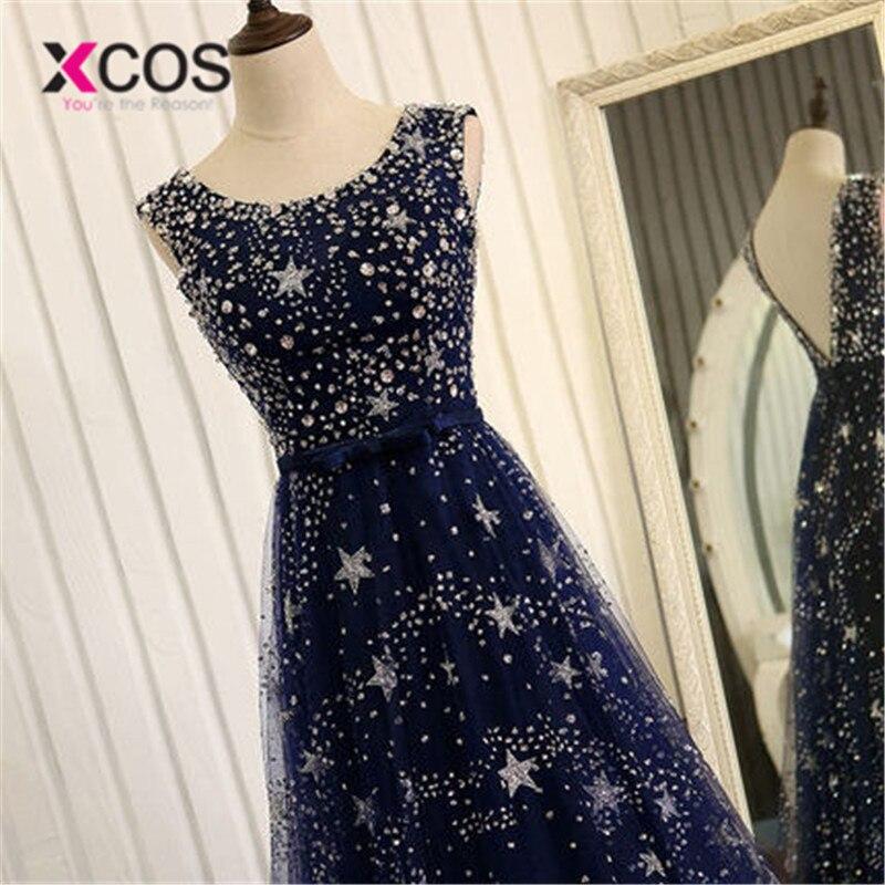XCOS élégant Bling Bling argent perles prêt à expédier Stock robe longue bleu marine robe de bal longues robes de soirée 2018 nouveauté - 4