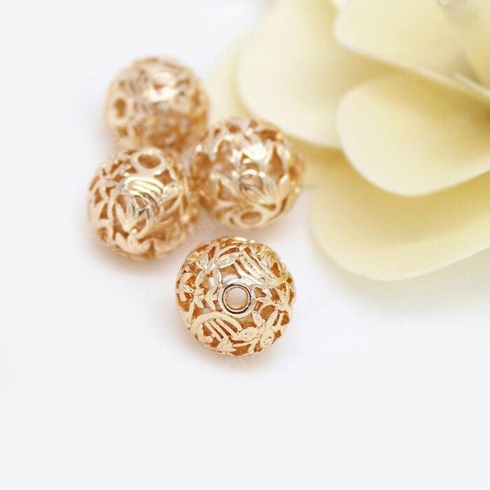 PCS 13.5 MILÍMETROS 24 4 K Ouro Champagne Cor de Bronze Banhado A Árvore Folha Spacer Beads Contas Pulseira Jóias de Alta Qualidade acessórios
