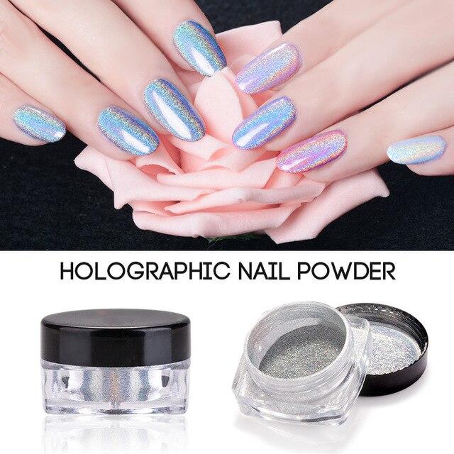 Professional Hot Holographic Nail Glitter Powder Art Holo Glitters Sliver Chrome Pigments