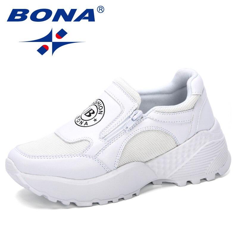 BONA 2019 New Designer Korean Platform Sneakers Women Shoes Zipper Ladies Shoes Outdoor Woman Tenis Feminino