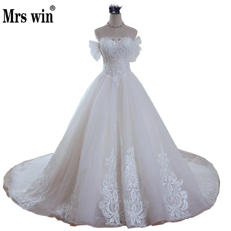 2019 New Arrival Mrs Win Light Champagne Wedding Dress