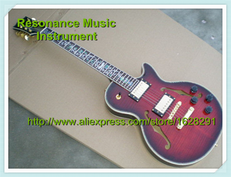 New Arrival Chinese Guitar LP Semi-hollow Body 2 F Holes Custom Guitar & Kit Available new arrival electrics guitar 12 strings cherry sunburst semi hollow maple body for sale