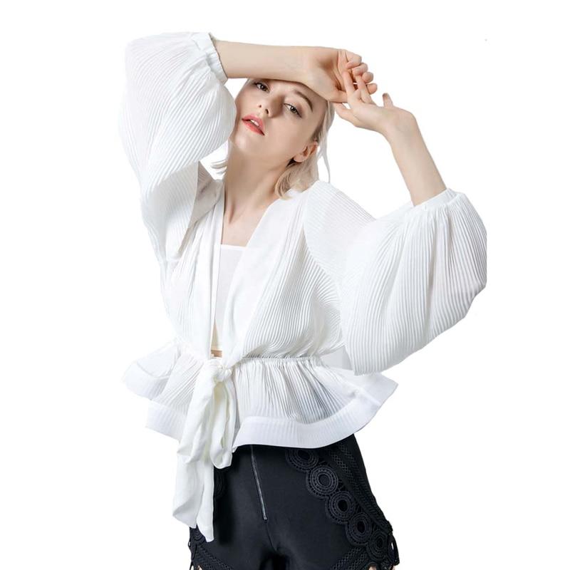 Dames col en V Blouse chemise manches bouffantes plissée mode mousseline de soie chemises taille cravate à manches longues femmes noir blanc Blouse décontractée
