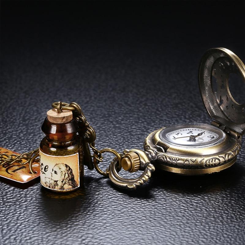 2019 Retro Style Men and Women Pocket Watch Bronze Dial Chinese Style Nostalgic Necklace Pocket Watch Key Pendant Wishing Bottle