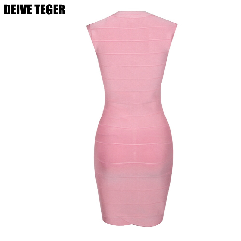 DEIVE TEGER Womens sexy Noble V-Neck Ombre Bandage Dress Celebrity EL Vestido bandagem robe HL1047