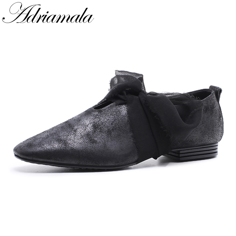 2018 Cow Leather Square Toe Women Casual Shoes Brand Designer Genuine Leather Slip-on Fashion Low Heels Lace Lady Shoe Adriamala lady glitter high fashion designer brand bow soft flock plus size 43 leisure pointed toe flats square heels single shoes slip on