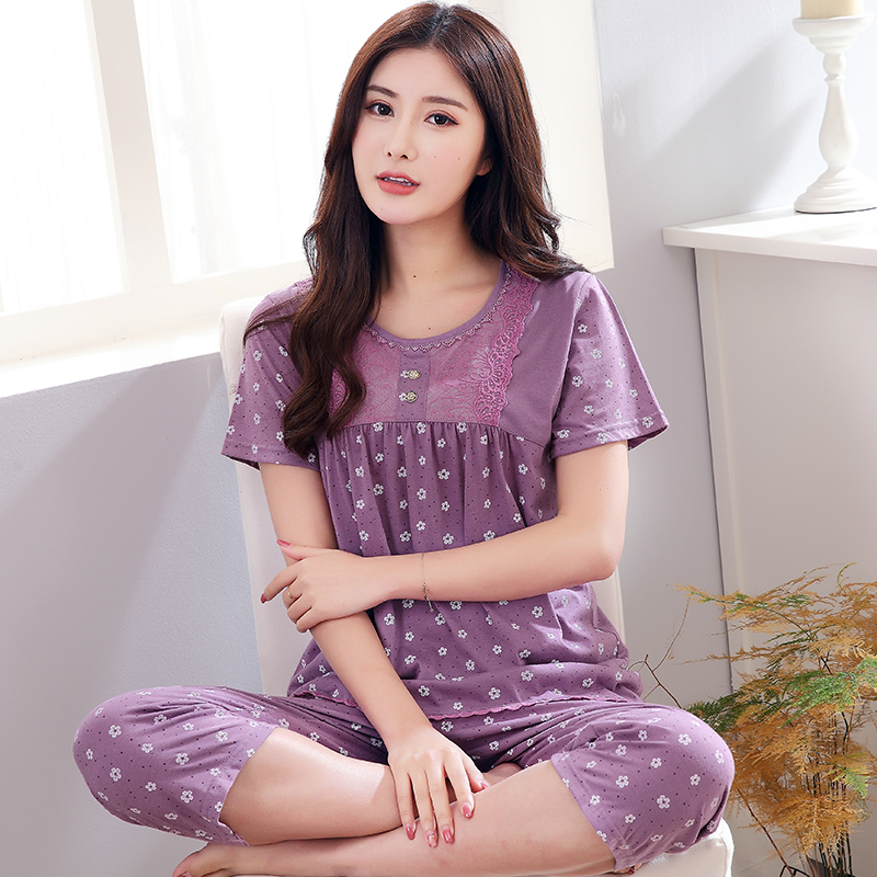 Detail Feedback Questions about New arrived women pajamas set summer floral  print pyjamas cotton sleepwear women night suit tracksuit home clothing for  ... 4c2348450