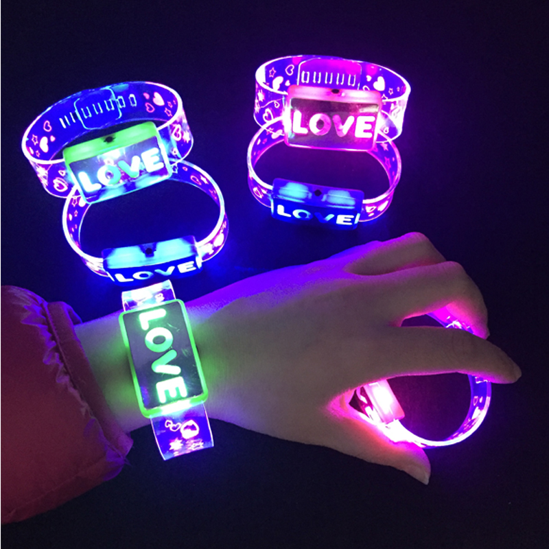 Multicolor LED Flashing love Bracelet Light Up Acrylic Bangle for Party Bar Halloween, Christmas, Hot Dance Gift 2018 New 24pcs ...