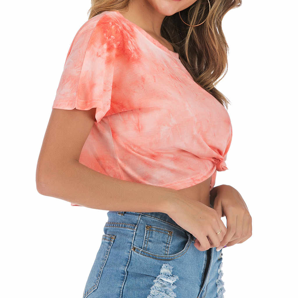 Футболка с градиентным принтом, Женская Повседневная футболка с круглым вырезом, короткий рукав, женская футболка, camisetas verano mujer, женская футболка