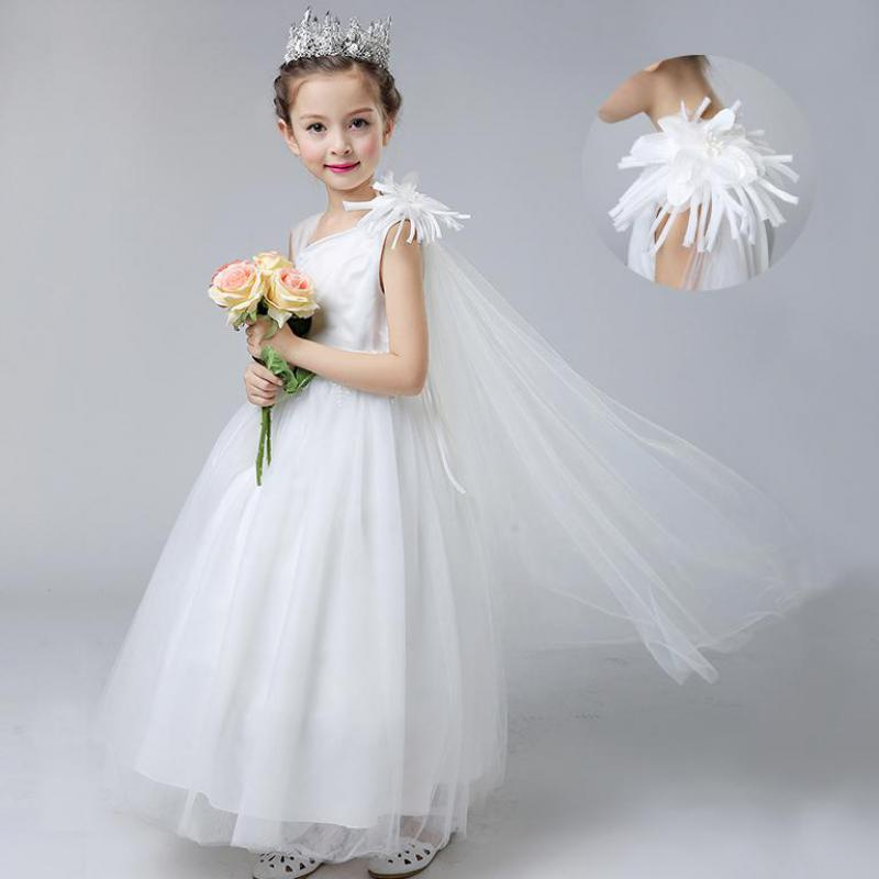 New White Dress 2018 Tulle Baby Flower Girl Wedding Dress Fluffy Ball Gown Birthday Evening Prom Clothing Tutu Party Dress 13 14 lilac tulle open back flower girl dresses with white lace and bow silver sequins kid tutu dress baby birthday party prom gown