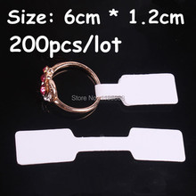 hot deal buy 1.2x6cm white paper jewelry display card labels ring sticker hangtag 200pcs/lot blank paper price tag labels packaging