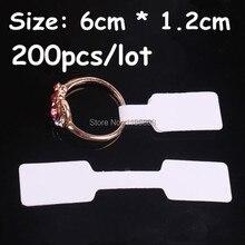 Получить скидку 1.2×6 см белый Бумага Jewelry Дисплей карты метки кольцо Стикеры ярлычком 200 шт./лот пустой Бумага ценник этикетки упаковка