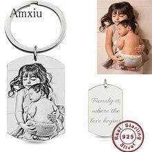 Amxiu תמונה מותאמת אישית 925 סטרלינג כסף Keychain לחרוט שם מילות מפתח אביזרי כיכר תכשיטי נשים גברים מתנות ילדים מזהה תגיות