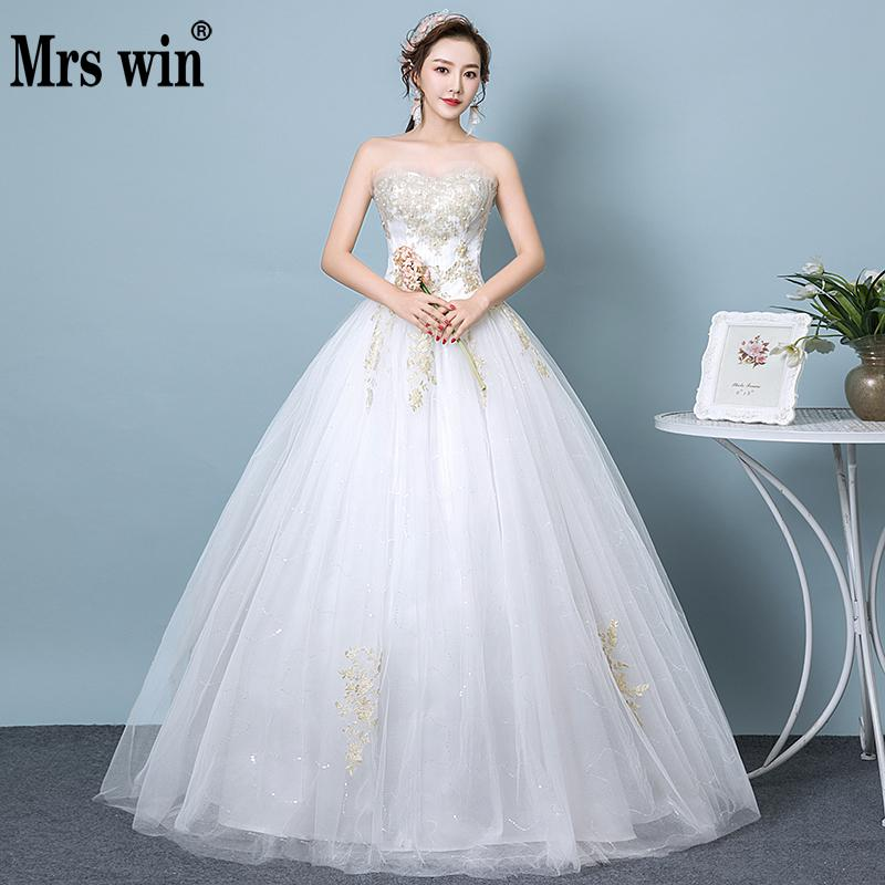 Cheap Plus Size Ball Gown Wedding Dresses: Cheap 2019 New Mrs Win Strapless Wedding Dresses Classic