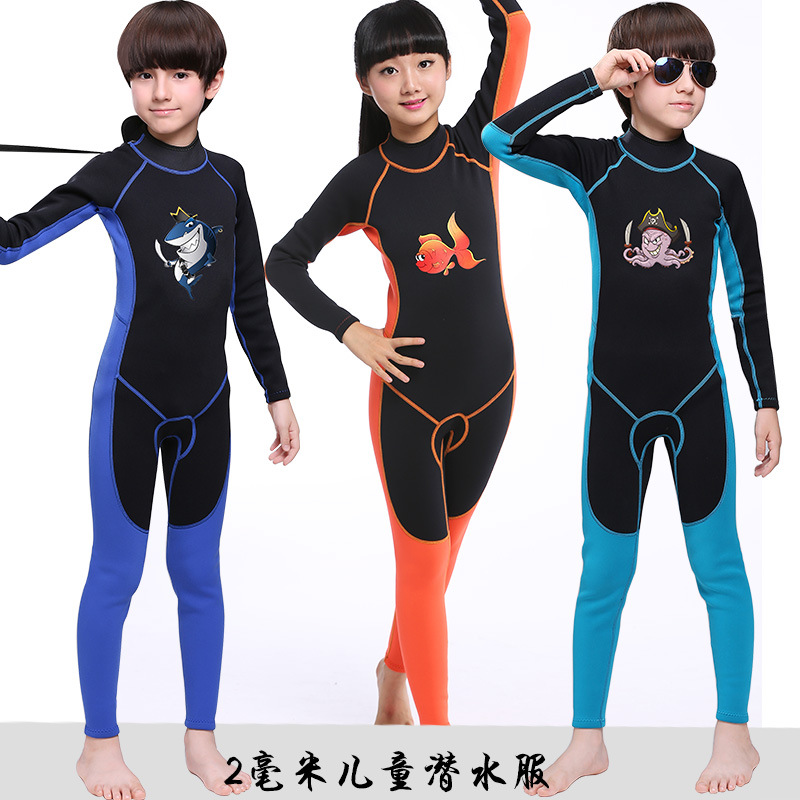 2mm costume de plongée pour enfants néoprène à manches longues une pièce Anti froid chaud Surf vêtements hiver maillot de bain